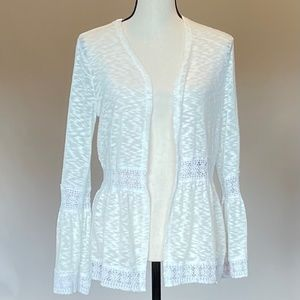 Almost Famous White Open Front Cardigan Sz S
